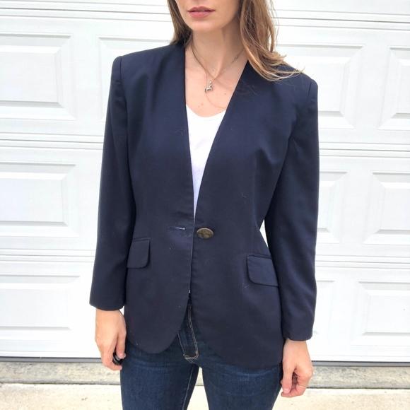 Vintage Jackets & Blazers - Vintage Jones NY | Navy Blue One Button Blazer